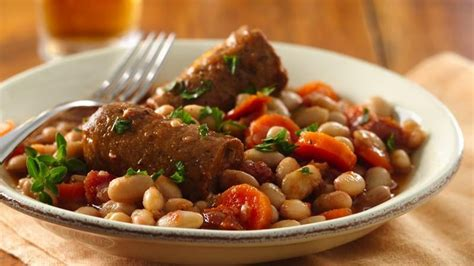 great cooker recipes slow cooker great northern bean and veggie sausage cassoulet recipe from betty crocker