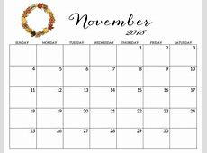 Free November 2018 Calendar Template Download October