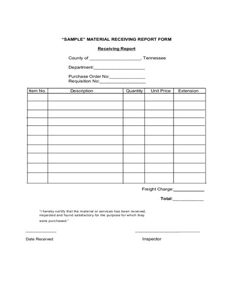 receiving report form fillable printable