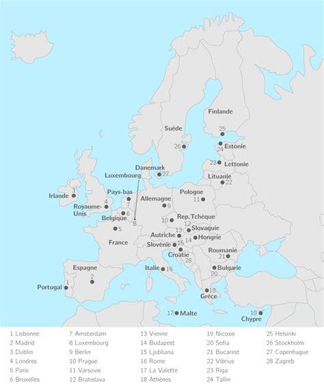 Carte Européenne Avec Capitales by Placer Sur La Carte Les 28 233 Tats De L Union Europ 233 Enne Et