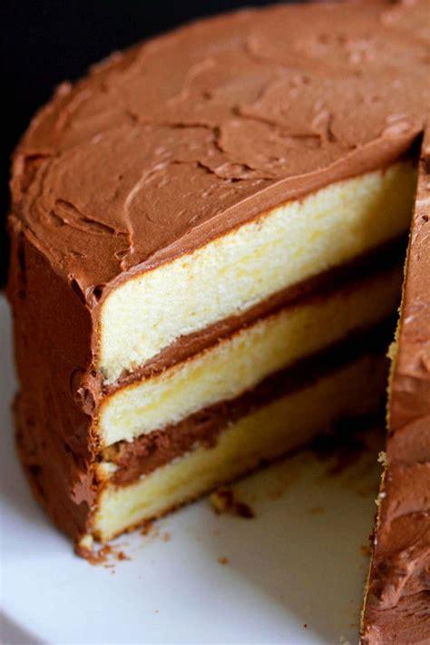moist yellow cake  bittersweet chocolate frosting