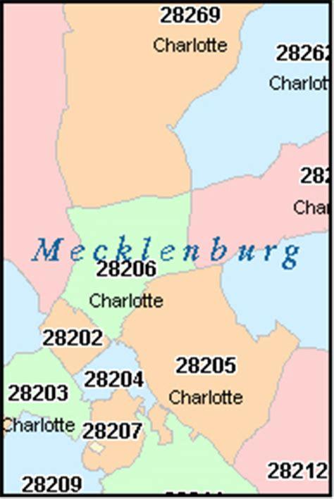 mecklenburg county north carolina digital zip code map