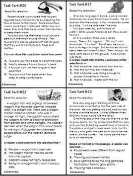 grade inference reading task cards test prep  gina