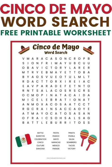 Cinco de Mayo Word Search Free Printable for Kids
