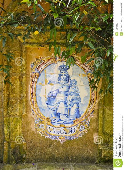 madonna and child tile mural mission stock photo