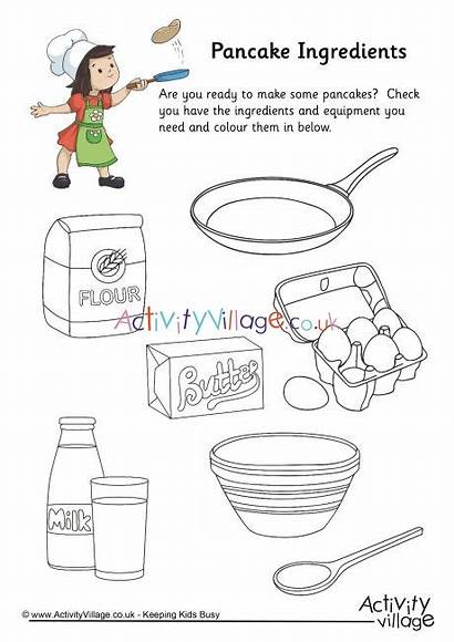 Pancake Colouring Ingredients Pages Pancakes Activity Coloring