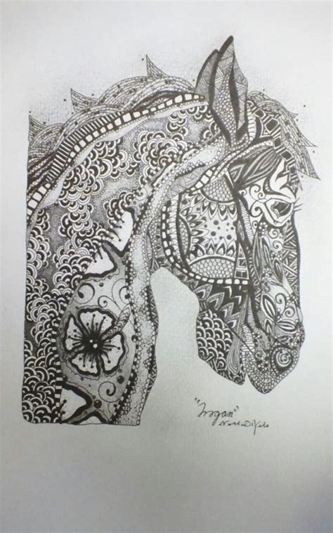 zentangle horses trogan original  zentangle style