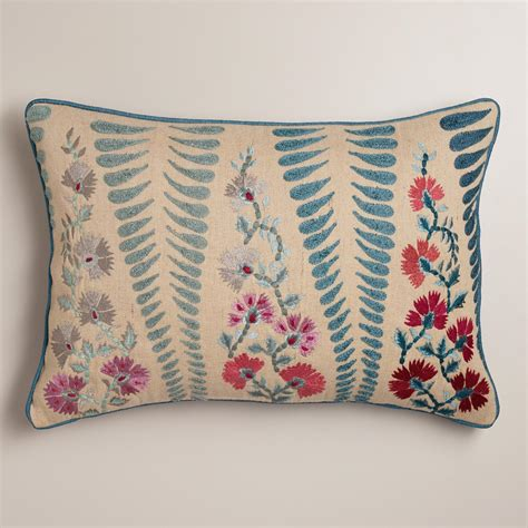 world market pillows blue and coral lumbar pillow world market