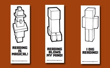 Free Minecraft Printables For Reading Bookmarks, Reading