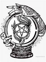 Baphomet Tattoo Crystal Ball Sigil Tattoos Boule Psychic Cristal Tribal Coloring Redbubble Drawings Sticker Gypsy Reader Lower Magneticmama Ink Pentagram sketch template