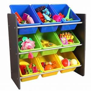 Basicwise, 3-tier, Kid, U0026, 39, S, Toy, Storage, Organizer, With, 9, Plastic, Bins-qi003276
