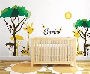 Baby nursery ideas safari giraffe and birds decals for walls for Nice safari wall decals for nursery