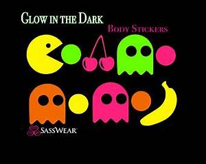 Black light Alien Space Body Stickers Rave Costume Neon