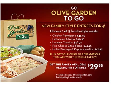 olive garden menu specials olive garden weeknight family meal deals giveaway home