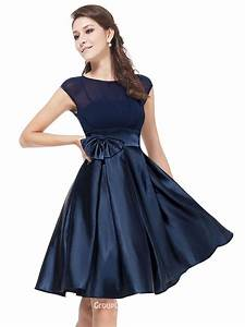simple cap sleeves knee length short navy blue satin With robe de soirée bleu nuit