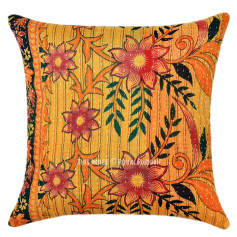 Throw Pillows by Orange Multi Flower Plant Decorative Vintage Kantha Throw