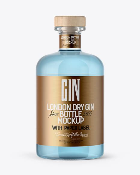 See your label design in realistic way with free glass bottle mockup. Clear Glass Gin Bottle Mockup in Bottle Mockups on Yellow ...