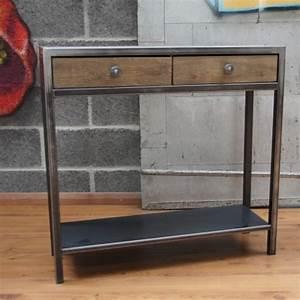 Console Murale Avec Tiroir : console tiroirs bois et m tal mobilier design ~ Teatrodelosmanantiales.com Idées de Décoration