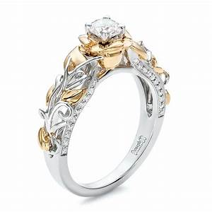 custom two tone gold organic vines and diamond engagement ring With two tone gold wedding ring