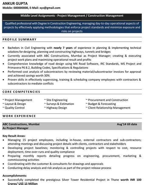 civil engineering resume  freshers  cv format