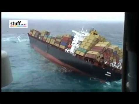 Youtube Tugboat Accidents by Container Ship Rena Sinking Dramatic Footage Youtube