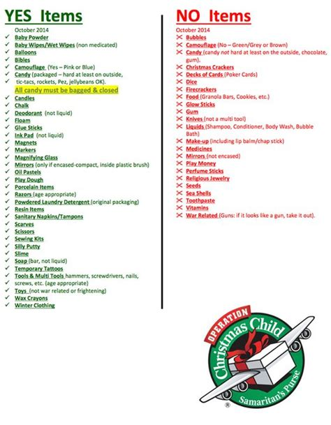 operation christmas child packing lists and samaritan s
