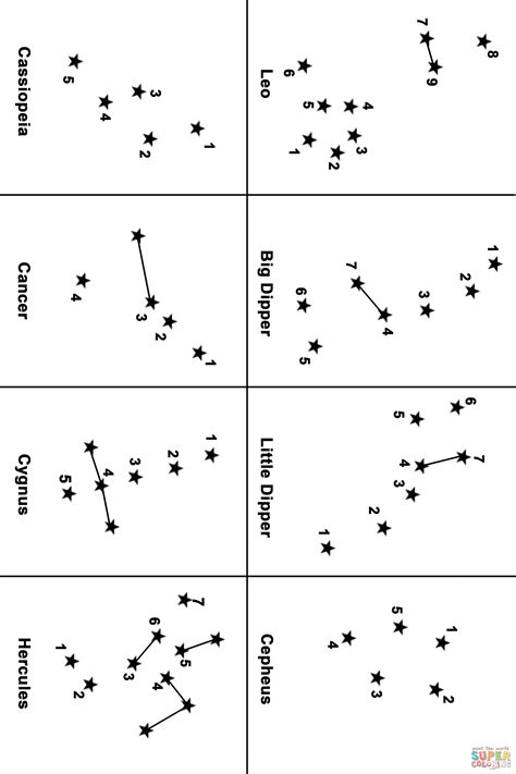 constellation chart worksheet constellation map dot to dot free printable coloring pages