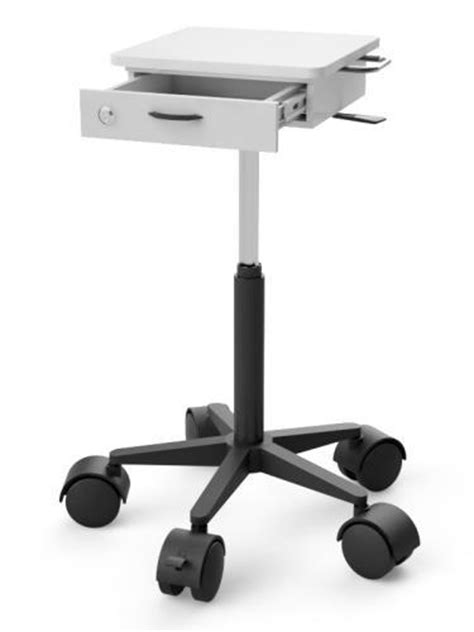 Pole Mounted Laptop Cart with Lockable Drawer