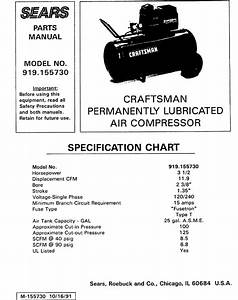 Craftsman 919155730 User Manual Air Compressor Manuals And