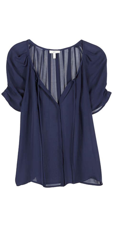 joie berkeley top dark navy short sleeve silk blouse