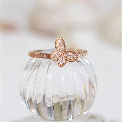 rose gold butterfly ring simple ring animal ring cute