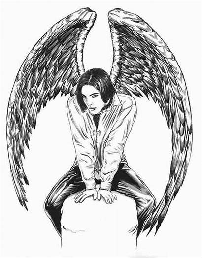 Gothic Coloring Pages Printable Angel Halloween Dark
