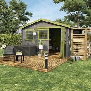 abri de jardin bois florentine 903 m2 ep28 mm leroy With abri terrasse leroy merlin