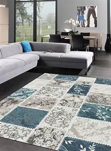 Tapis Salon Moderne : tapis salon hilos turquoise ~ Teatrodelosmanantiales.com Idées de Décoration