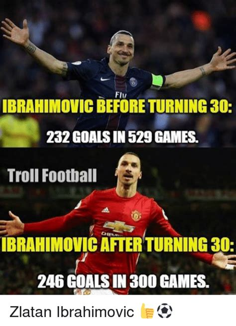 Zlatan Memes - flu ibrahimovicbeforeturning 30 232 goals in 529 games troll football ibrahimovic after turning