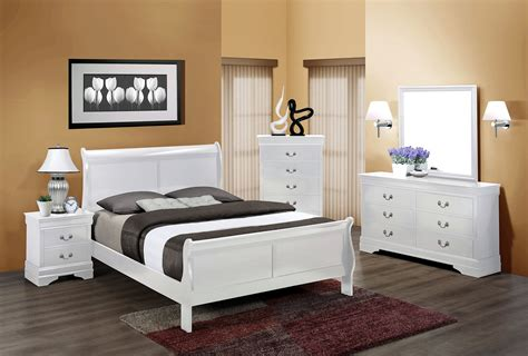 white full size sleigh bedroom set  furniture place
