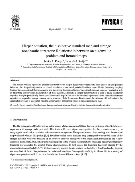 (PDF) Harper equation, the dissipative standard map and