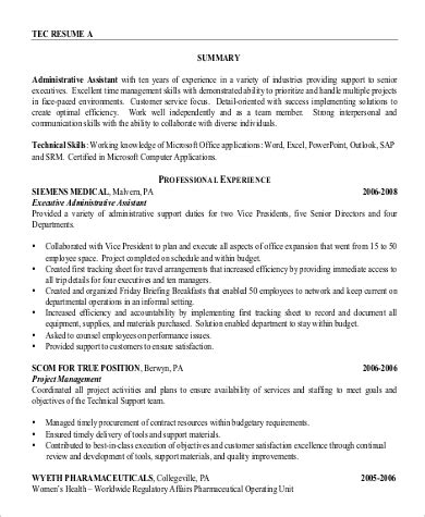 Professional Resume Summary by Sle Professional Summary Resume 8 Exles In Pdf