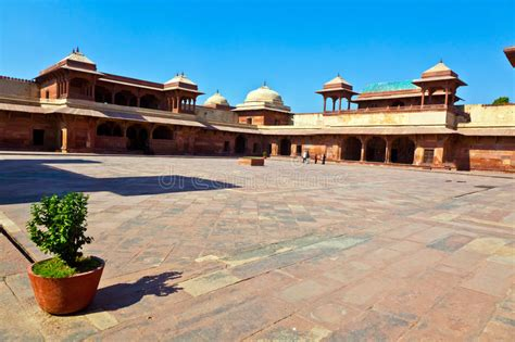 red sandstone corridor  fatehpur stock image image