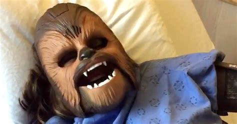 pregnant woman wears chewbacca mask   labor