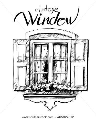 Vintage window. Vector sketch | 520 in 2019 | Window