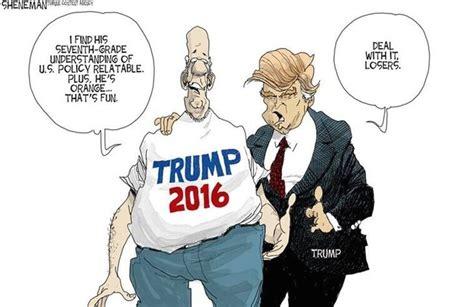 trump donald cartoon cartoons satire sheneman president deal muslim states united america race he caricatures question fun campaign poll asked