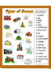 english worksheet types  houses matching exercise