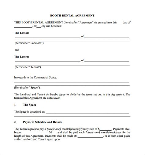 sle booth rental agreement 9 documents in pdf