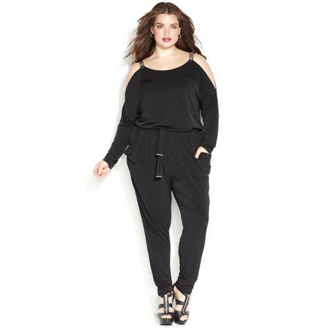 plus size jumpsuits michael kors michael plus size chain link belted jumpsuit