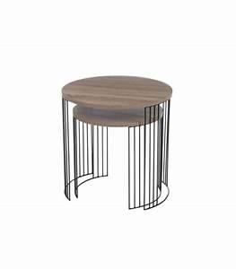 Table Basse Bois Et Noir : set de 2 tables basses gigognes en bois et m tal noir design ~ Teatrodelosmanantiales.com Idées de Décoration