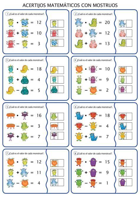 Estas hojas de ejercicios proporcionan material de práctica adicional para favorecer el aprendizaje de los diferentes temas de la matemática de tercer grado. ACERTIJOS MATEMÁTICOS CALCULA EL VALOR DE CADA MONSTRUO ...