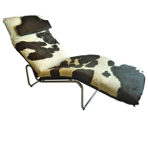 Cowhide Chaise by Stylish Cowhide Chaise With Chrome Base At 1stdibs