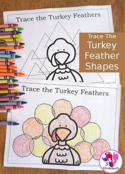 free turkey feather shape tracing 5 shapes for kids to