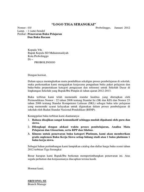 Contoh Penawaran Produk Docx by Contoh Penawaran Reguler Ke Sekolah Atau Yayasan